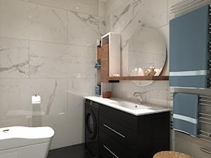 Projekt apartamentu typu studio - Mała czarna szara łazienka na poddaszu w bloku w domu jednorodzinnym bez okna, styl nowoczesny - zdjęcie od Oksana Koniuszewska