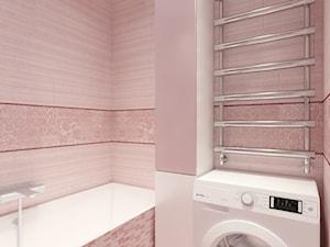 Projekt 4-pokojowego mieszkania - Mała różowa łazienka na poddaszu w bloku w domu jednorodzinnym bez okna - zdjęcie od Oksana Koniuszewska
