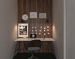 Projekt apartamentu typu studio - Małe szare biuro kącik do pracy, styl nowoczesny - zdjęcie od Oksana Koniuszewska