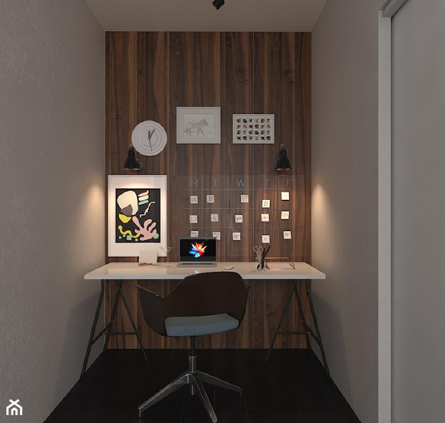 Aranżacje wnętrz - Biuro: Projekt apartamentu typu studio - Małe szare biuro kącik do pracy, styl nowoczesny - Oksana Koniuszewska. Przeglądaj, dodawaj i zapisuj najlepsze zdjęcia, pomysły i inspiracje designerskie. W bazie mamy już prawie milion fotografii!