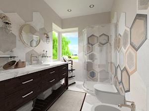 Projekt domu jednorodzinnego - Średnia szara łazienka na poddaszu w bloku w domu jednorodzinnym z oknem, styl skandynawski - zdjęcie od Oksana Koniuszewska