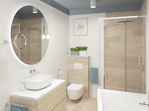 Łazienka w drewnie w połączeniu z bielą i niebieskim - zdjęcie od Boka Design