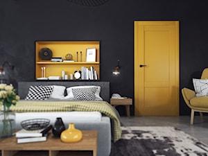 Kolekcja Coolors - Średnia pomarańczowa czarna sypialnia małżeńska, styl eklektyczny - zdjęcie od VOSTER