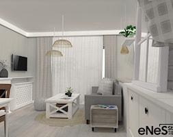 Mieszkanie na Wrocławskich Krzykach - Mały szary salon z jadalnią, styl prowansalski - zdjęcie od Enes Studio Projektowanie wnętrz & meble