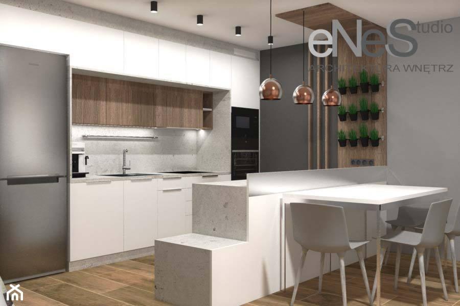 Projekt mieszkania Wrocław, Księże Małe - Średnia otwarta szara kuchnia dwurzędowa w aneksie, styl nowoczesny - zdjęcie od Enes Studio Projektowanie wnętrz & meble