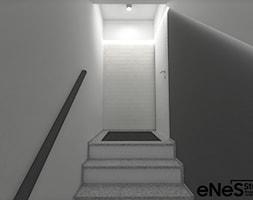 Projekt mieszkania na Wrocławskich Krzykach - Mały biały czarny hol / przedpokój, styl nowoczesny - zdjęcie od Enes Studio Projektowanie wnętrz & meble