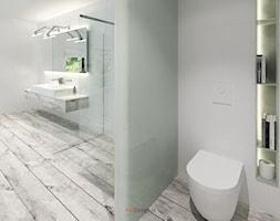 Dom 200 m2 - Duża biała łazienka w domu jednorodzinnym z oknem, styl nowoczesny - zdjęcie od Add Design - Homebook