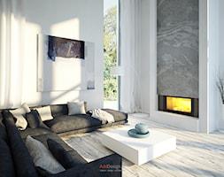 Dom 200 m2 - Duży biały salon, styl nowoczesny - zdjęcie od Add Design - Homebook