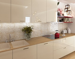 Kuchnie - Średnia biała beżowa kuchnia jednorzędowa, styl nowoczesny - zdjęcie od Add Design