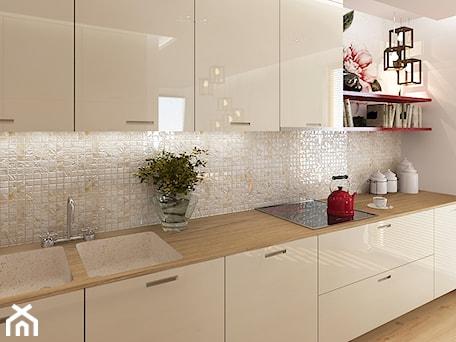 Aranżacje wnętrz - Kuchnia: Kuchnie - Średnia biała beżowa kuchnia jednorzędowa, styl nowoczesny - Add Design. Przeglądaj, dodawaj i zapisuj najlepsze zdjęcia, pomysły i inspiracje designerskie. W bazie mamy już prawie milion fotografii!