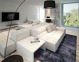 Dom 200 m2 - Duży szary salon, styl nowoczesny - zdjęcie od Add Design - Homebook