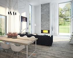 Dom 200 m2 - Duży szary salon z jadalnią z tarasem / balkonem, styl nowoczesny - zdjęcie od Add Design - Homebook