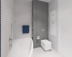 Dom 200 m2 - Mała biała szara łazienka w bloku bez okna, styl nowoczesny - zdjęcie od Add Design - Homebook