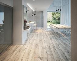 Dom 200 m2 - Duża otwarta szara jadalnia w kuchni, styl nowoczesny - zdjęcie od Add Design