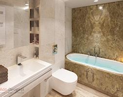 Apartamentowiec w górach, w Szklarskiej Porębie - Mała beżowa brązowa łazienka w bloku bez okna, styl nowoczesny - zdjęcie od Add Design