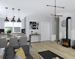 """Dom z klimatem - Mały szary salon z kuchnią z jadalnią - zdjęcie od Biuro projektowe """"Patio"""" Ewa Szymczak"""