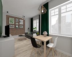 """Mała kawalerka na wynajem - Mała otwarta biała zielona jadalnia w salonie, styl skandynawski - zdjęcie od Biuro projektowe """"Patio"""" Ewa Szymczak"""