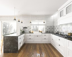 KUCHNIA- prowansja - Duża biała szara kuchnia w kształcie litery u w aneksie z wyspą z oknem, styl skandynawski - zdjęcie od BAJON DESIGN