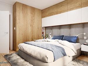 mieszkanie #2 // Wrocław - Mała szara sypialnia małżeńska, styl skandynawski - zdjęcie od KMwnętrza