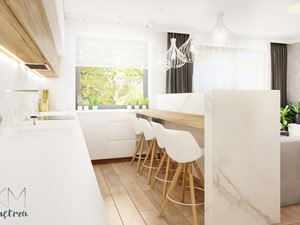 mieszkanie #2 // Wrocław - Średnia otwarta biała kuchnia dwurzędowa w aneksie z oknem, styl skandynawski - zdjęcie od KMwnętrza