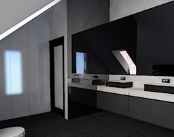 czarno biała łazienka na poddaszu - zdjęcie od Henschke.design