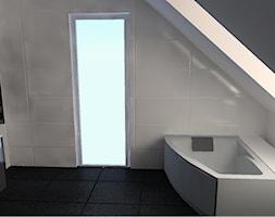 czarno biała łazienka na poddaszu - zdjęcie od Henschke.design - Homebook