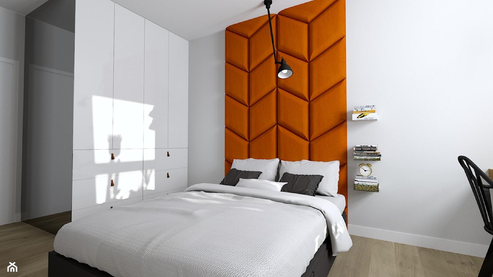 Jasna i ciepła sypialnia z miejscem do pracy - zdjęcie od PROJEKT-WNĘTRZE - Homebook