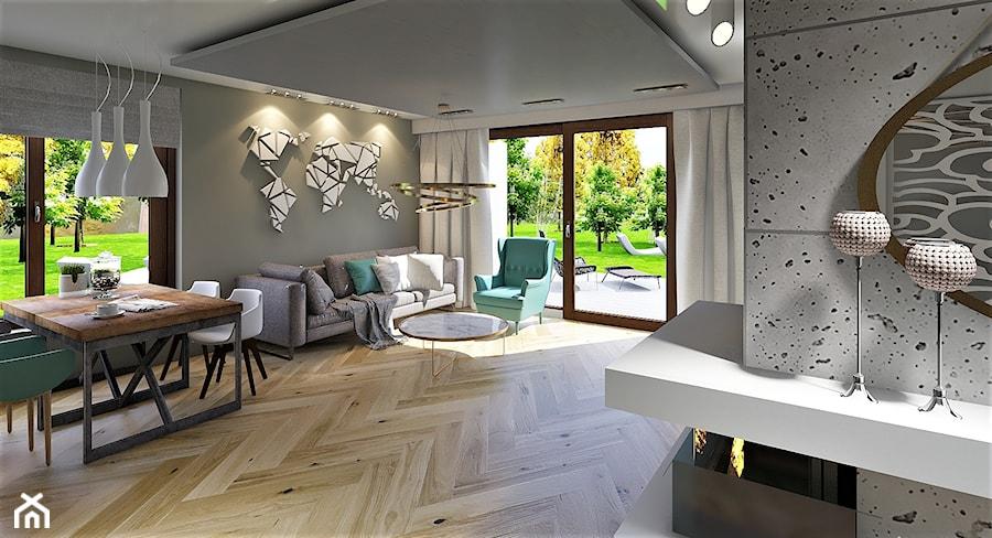 Salon z Jadalnią w domu jednorodzinnym - zdjęcie od imadesign