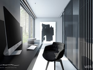 Dom w Sztokholmie - Małe czarne szare biuro domowe w pokoju, styl minimalistyczny - zdjęcie od Merapi Architects