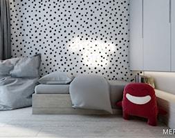 Mieszkanie Warszawa Wilanów - Mały biały czarny pokój dziecka dla chłopca dla dziewczynki dla nastolatka, styl minimalistyczny - zdjęcie od Merapi Architects