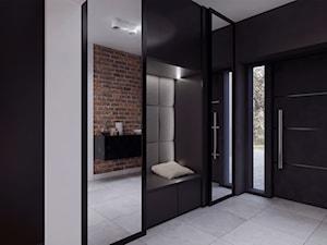 013_18 MIELEC - Duży biały czarny hol / przedpokój, styl nowoczesny - zdjęcie od NOVOO studio