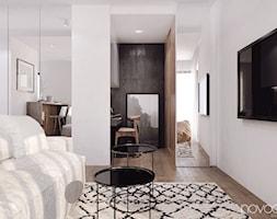 010_17 Kawalerka w Rzeszowie - Średnie białe biuro domowe kącik do pracy w pokoju, styl nowoczesny - zdjęcie od NOVOO studio