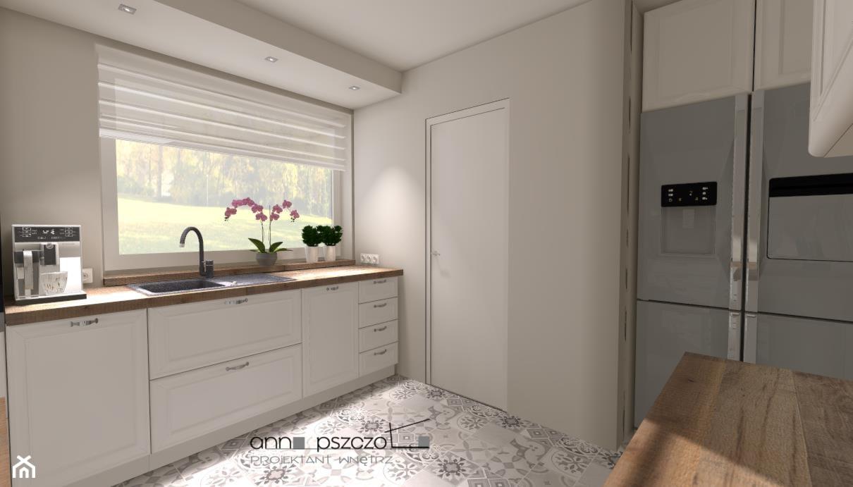 Kuchnia - AGD, w ciemnych kolorach - Średnia zamknięta szara kuchnia w kształcie litery l z oknem, styl tradycyjny - zdjęcie od Anna Pszczoła - Aranżacja Wnętrz - Homebook