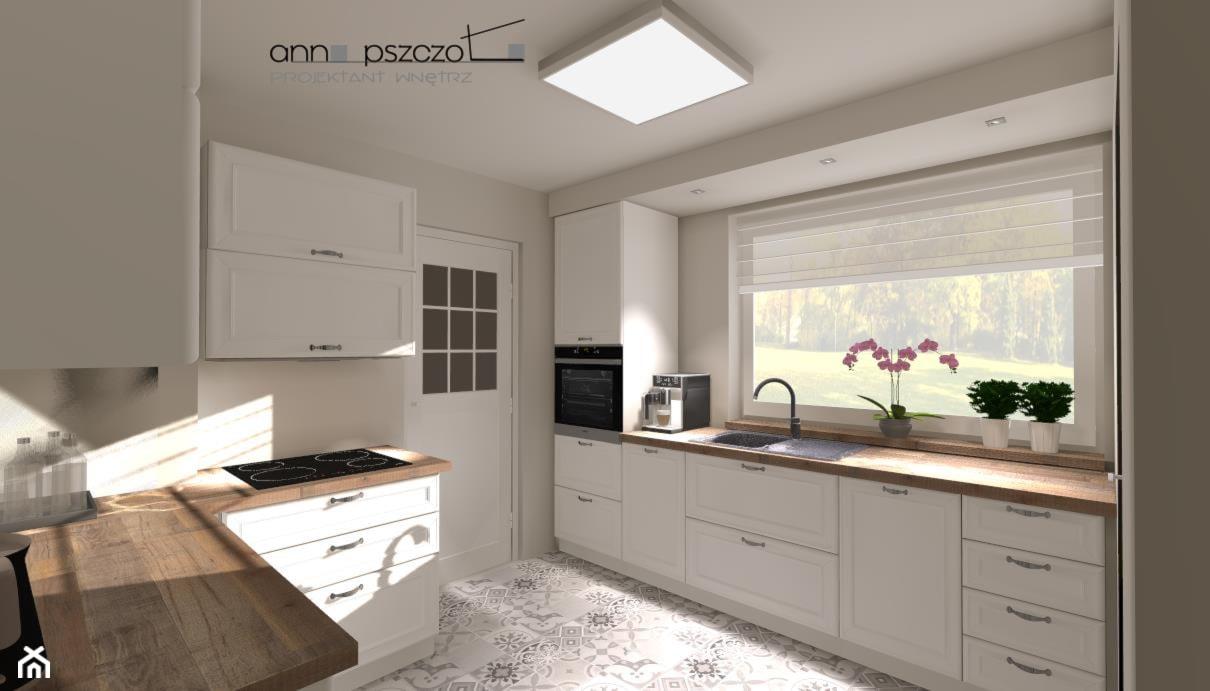 Kuchnia - AGD, w ciemnych kolorach - Średnia otwarta szara kuchnia w kształcie litery u z oknem, styl tradycyjny - zdjęcie od Anna Pszczoła - Aranżacja Wnętrz - Homebook
