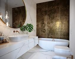 APARTAMENT - KLASYCZNA ELEGANCJA W NOWOCZESNYM WYDANIU - Duża łazienka w bloku w domu jednorodzinnym bez okna, styl nowoczesny - zdjęcie od JMW Architekci
