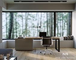 WOKOŁO LAS - Średnie beżowe biuro domowe w pokoju - zdjęcie od JMW Architekci