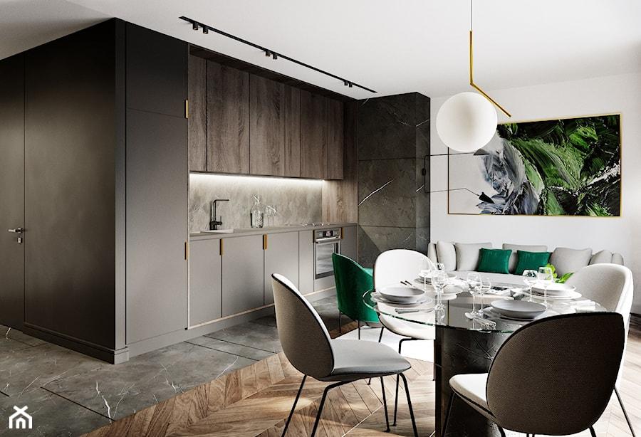 Projekt wnętrz mieszkania w kamienicy - Średnia otwarta biała czarna jadalnia w kuchni w salonie, styl nowoczesny - zdjęcie od JMW Architekci