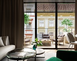 Projekt wnętrz mieszkania w kamienicy - Średni taras z tyłu domu, styl nowoczesny - zdjęcie od JMW Architekci