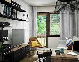 MAŁE MĘSKIE MIESZKANIE - Średni szary salon z bibiloteczką z tarasem / balkonem - zdjęcie od Izabela Jurkiewicz Projektowanie Wnętrz