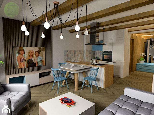 salon z aneksem kuchennym w stylu vintage