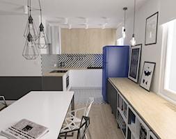 Mieszkanie / metal + geometryczne wzory - Mała otwarta wąska biała kuchnia w kształcie litery l w aneksie z oknem, styl industrialny - zdjęcie od Moble.projekt