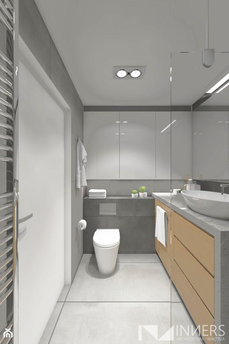 Mieszkanie 77m2, Apartamenty Novum, ul. Rakowicka 20, Kraków - Średnia szara łazienka w bloku w domu jednorodzinnym bez okna, styl nowoczesny - zdjęcie od INNers - architektura wnętrza