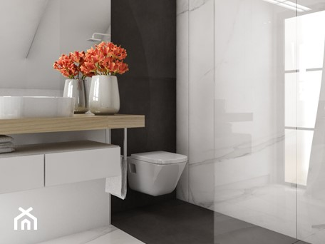 Aranżacje wnętrz - Łazienka: Dom 200m2 w Puławach - Biała łazienka w bloku w domu jednorodzinnym z oknem, styl nowoczesny - INNers - architektura wnętrza. Przeglądaj, dodawaj i zapisuj najlepsze zdjęcia, pomysły i inspiracje designerskie. W bazie mamy już prawie milion fotografii!