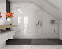 Dom 200m2 w Puławach - Średnia biała czarna łazienka na poddaszu w domu jednorodzinnym bez okna, styl nowoczesny - zdjęcie od INNers - architektura wnętrza - Homebook