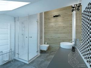 Łazienka / Wrocław - Średnia biała czarna łazienka na poddaszu w domu jednorodzinnym z oknem, styl nowoczesny - zdjęcie od INNers - architektura wnętrza