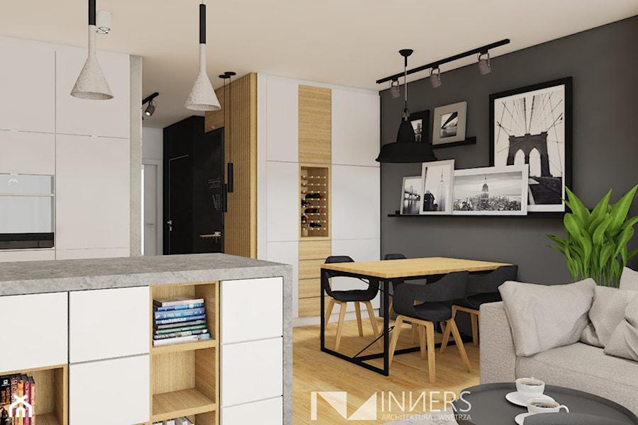 Mieszkanie 77m2, Apartamenty Novum, ul. Rakowicka 20, Kraków - Mała otwarta biała szara jadalnia w kuchni w salonie, styl nowoczesny - zdjęcie od INNers - architektura wnętrza