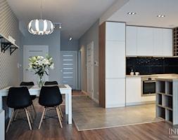 Mieszkanie 80m2 / Wiślane Tarasy, Kraków - Średnia otwarta czarna kuchnia w kształcie litery u w aneksie z wyspą, styl skandynawski - zdjęcie od INNers - architektura wnętrza - Homebook