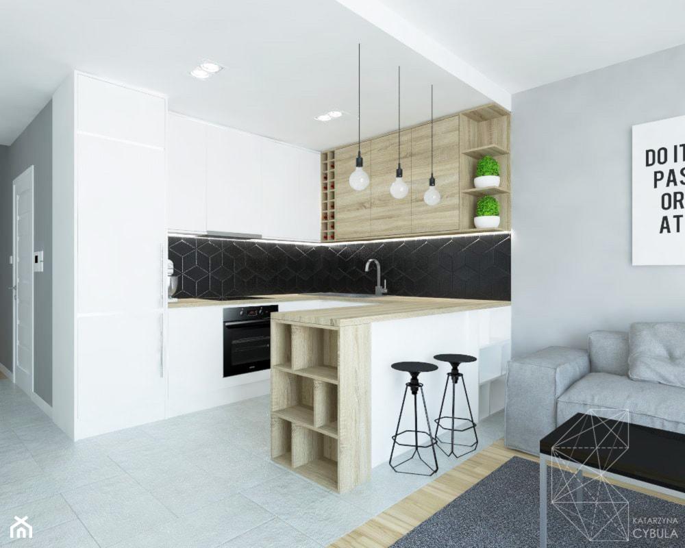 Mieszkanie 80m2 / Wiślane Tarasy, Kraków - Duża otwarta czarna kuchnia w kształcie litery u w aneksie z wyspą, styl nowoczesny - zdjęcie od INNers - architektura wnętrza - Homebook