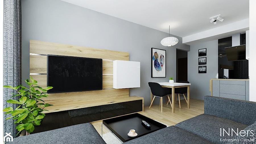 Mieszkanie 40m2 Polonijna Kraków średni Szary Salon Z