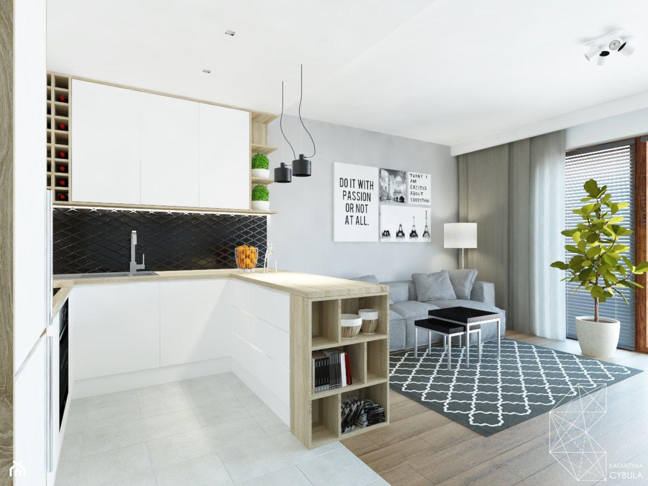 Mieszkanie 80m2 / Wiślane Tarasy, Kraków - Średnia otwarta szara kuchnia w kształcie litery u w aneksie z wyspą, styl nowoczesny - zdjęcie od INNers - architektura wnętrza - Homebook